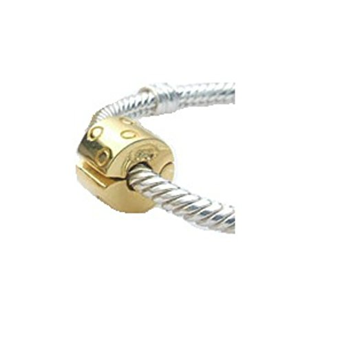 - .925 Sterling Silver Golden Circle Clip Stopper/spacer Bead Fits European Brand Charms