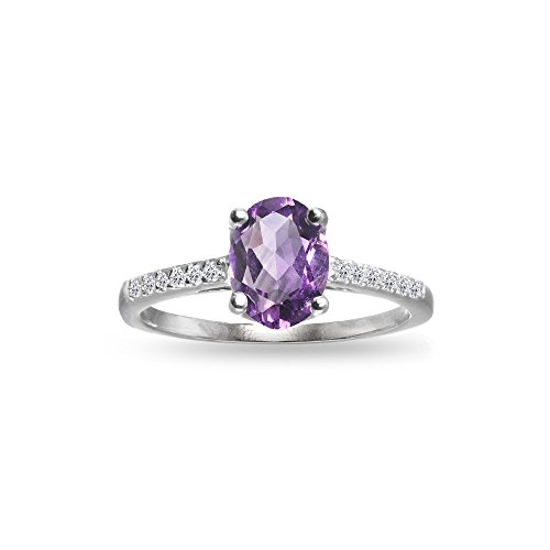 Sterling Silver Amethyst and White Topaz Oval Crown Ring, Size 5 Amethyst Solitaire Ring