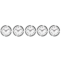 La Crosse Technology 404-1235UA-SS 14 Inch UltrAtomic Analog Stainless Steel Wall Clock (5-(Pack))