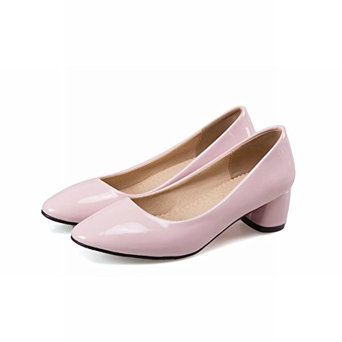 Latasa Womens Solid Color Chunky Heels Casual Pumps Pink t73xWU70DD