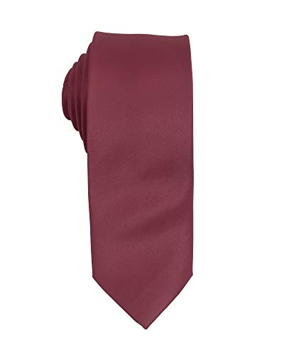 Wine Poly Satin Solid Slim Tie