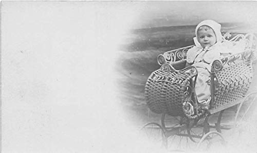 People and Children Photographed on Postcard, Old Vintage Antique Post Card Baby in Sleigh Unused