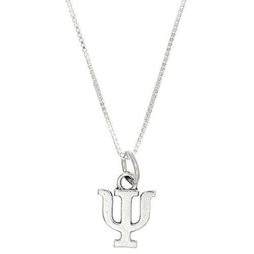 (Sterling Silver Oxidized Psi Greek Sorority Letter Charm with Box Chain Necklace (16 Inches))