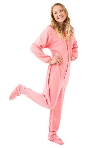 Adult Fleece Footed Pajamas - Big Feet Pajama's Pink Micro-polar Fleece Adult Footed Pajamas Onesie NO Drop Seat