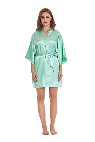 dcd9b3cda1 TIMSOPHIA Women Robes Pure Colour Short Kimono Robes Silk Satin ...