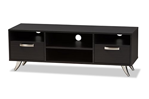 Baxton Studio Wilda Modern Wood Television Stand - Modern and contemporary TV stand Dark brown finishing Four open shelves and two pull-out drawers - tv-stands, living-room-furniture, living-room - 31cn4Nc1ccL -