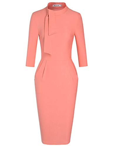(MUXXN Women's Celebrity 70s Round Collar Pink Color Juniors Vintage Dress with Pockets (Peach S))