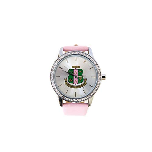 New Alpha Kappa Alpha Sorority Pink Leather Band Watch With Shield ()