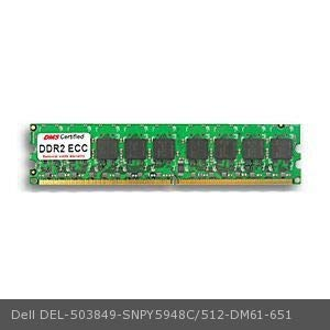 DMS Compatible/Replacement for Dell SNPY5948C/512 PowerEdge 840 512MB DMS Certified Memory DDR2-667 (PC2-5300) 64x72 CL5 1.8v 240 Pin ECC DIMM Single Rank - DMS