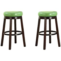 Roundhill Furniture Wooden Swivel Barstools, Bar Height, Lime Green, Set of 2
