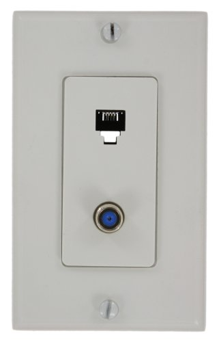 Video Decora Wall Plate (Leviton 40159-W Decora Telephone/Video Wall Jack Assembly, 6P4C + F, Screw Terminals, White)
