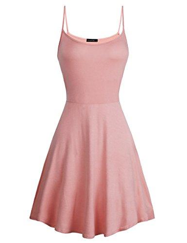 Pink Dresses for Women,FANSIC Womens Sleeveless Floral Printed Swing Sundress Spaghetti Strap Dresses (medium, Pink)