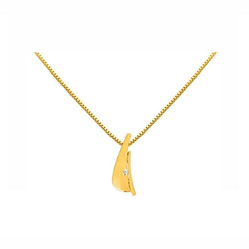 Or Jaune 14 ct Pendentifs Diamant , 0.02 Ct Diamant, GH-SI, 1.49 grammes.