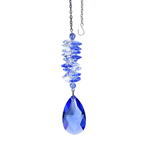 Hanging Cascade - CrystalPlace Crystal Suncatcher 5 inch Ornament Blue Sapphire Almond Prism, Rainbow Maker Spiral Cascade Crystal Suncatcher Made with Swarovski crystals by