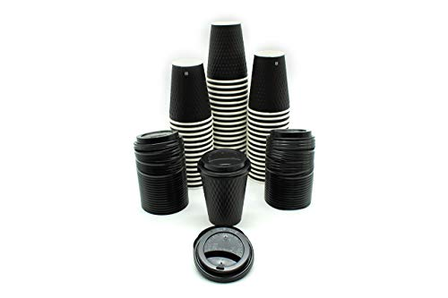 [1000 SETS] 12 Ounce Black Double-Wall Disposable Black Embossed Paper Insulated Cups and Lids for Hot Beverage Coffee Espresso Chocolate Cappuccino Latte Cocoa Tea (12 oz, Lids, Double-Walled) (Insulated Hot Beverage)