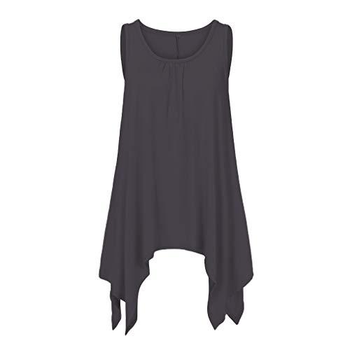 (Inverlee Blouse Fashion Woman Summer Loose Casual Irregular Hem O-Neck Sleeveless Tops Black)