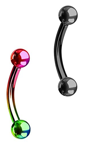 Forbidden Body Jewelry Set of 2 Petite Belly Rings: 14g 5/16 Inch Surgical Steel Curved Rainbow & Black Barbells, 3mm Balls