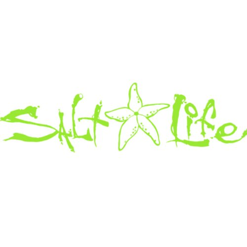 Salt Life Signature Starfish Medium Decal -lime