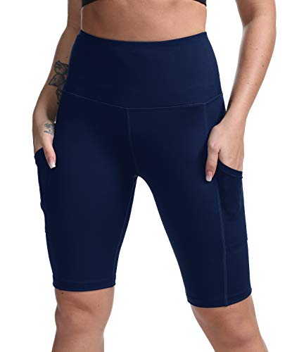 DILANNI Women High Waist Yoga Shorts Side Pocket Tummy Control Workout Running Athletic Short Pants Navy Blue - Top Bike Active