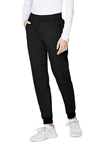 (Adar Responsive Scrubs for Women - Quilted Jogger Scrub Pants - R6100 - Black - M)