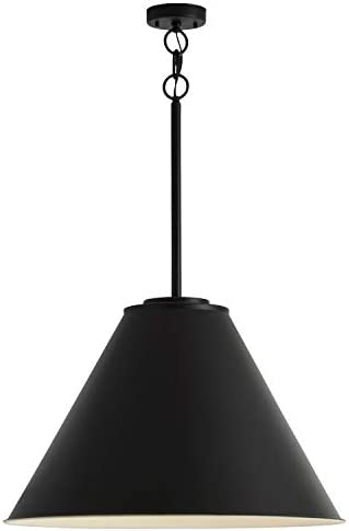 Stone Beam Vintage Large-Format Pendant Light with Bulb, 30 H, Black