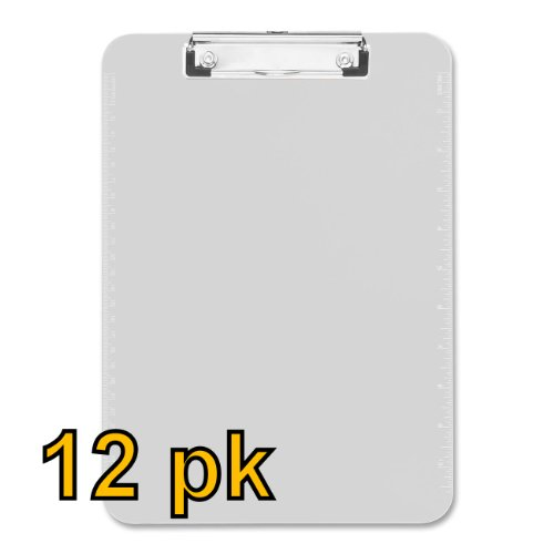 Value Pack of 12 - Low Profile Plastic Clipboards, letter size (Clear)