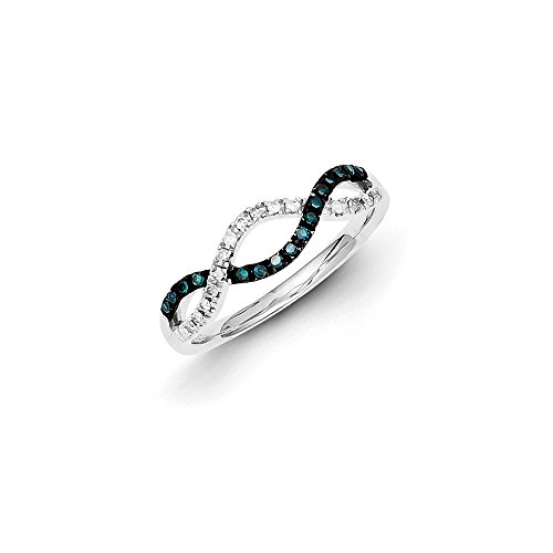 .18 Cttw (I2-I3 clarity) Blue&H-I White Diamond Twisted Ring in Sterling Silver