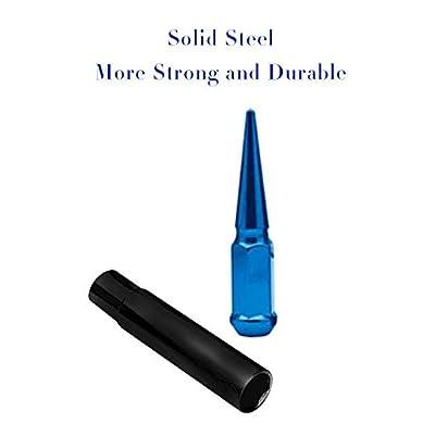 Spike Lug Nuts 14x1.5 Thread 20 pcs Wheel Lug Nuts with 1 Socket Key, Blue: Industrial & Scientific