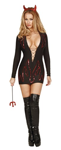Nom de Plume, Inc Sexy Stretch Lycra Devil Dress Set Small Black (Sexy Devil Halloween Costumes)