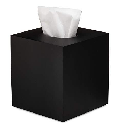 Essentra Home Matte Black Collection Square Tissue Box Cover