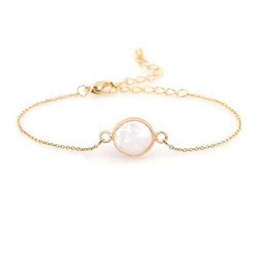COZLANE 14K Gold Simple Natural Pearl Shell Bracelet for Women Gift Pack
