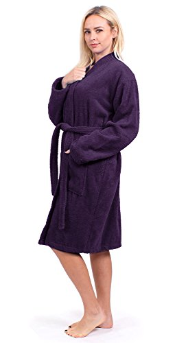 Turkuoise Women's Terry Cloth Robe 100% Premium Turkish Cotton Terry Kimono Collar (Medium, Plum) by Turkuoise