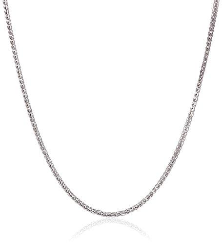 18k White Gold Diamond-Cut Wheat Chain Necklace, (18k Wheat Necklace)