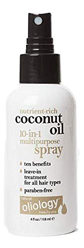 Oliology Coconut Oil 10-in-1 Multipurpose Spray, Leave In Treatment for All Hair Types, 4 Oz.