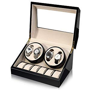 HEZALA Automatic Double Watch Winder with Quiet Mabuchi Motor for Men, 4+6 Watches Storage Box Case for Rolex, Wood Shell Piano Paint Exterior, Soft and Flexible Watch Pillows