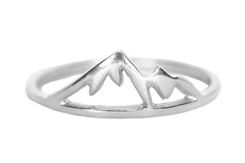 Pura Vida Sierra Silver Plated Ring - Mountain Design.925 Sterling Silver Band - Size 8