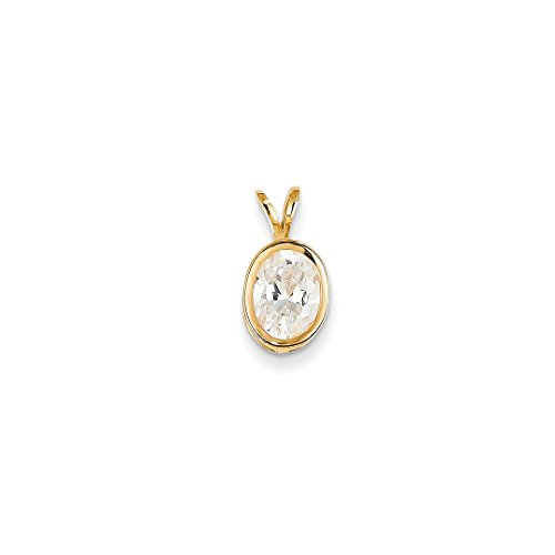 ICE CARATS 14k Yellow Gold 8x6mm Oval Cubic Zirconia Bezel Pendant Charm Necklace Gemstone Fine Jewelry Ideal Mothers Day Gifts For Mom Women Gift Set From Heart