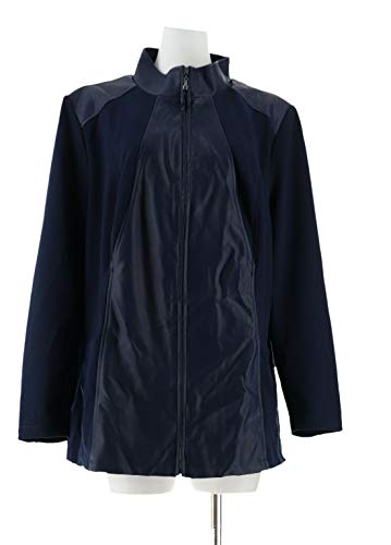 Dennis Basso Faux Leather Ponte Knit Zip Front Jacket Navy S New A284844