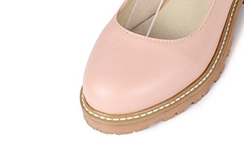 Pink BalaMasa Heels Womens Flats Square Bows Urethane Buckle Toe Round Mary Platform Jane wOw7xfq