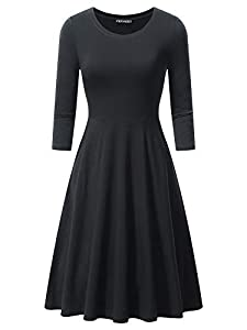 FENSACE with Pockets Womens 3/4 Sleeves Casual A-line Cotton Midi Dress