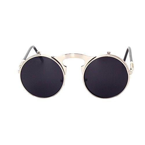 Retro de New Metal Lunettes Flip Lens C7 soleil Lunettes soleil Frame Up Circle Fashion de Meijunter tqxYUvwU