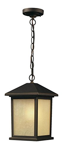 Black Craftsman / Mission 1 Light Down Lighting Pendant With Glass Square Shade (Down Pendant Orb)