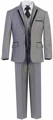 87177a6ef0978 Magen Kids Big Boys Gray Tie Vest Pants 5 Pcs Wedding Special Occasion  Tuxedo Suit 8