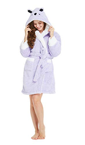 (TIMSOPHIA Robes for Women Bathrobe with Hood SPA Robes Fun Robes for Women(Gray/Pink) (Purple, Small))