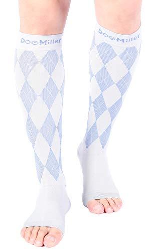 Doc Miller Open Toe Compression Socks 1 Pair 20-30mmHg Stockings (GrayBlue, M)