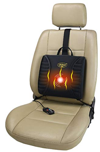 ObboMed® SU-3400P 12V Heated Massage Travel Pro-Lumbar Seat Cushion, Support Low Back/Waist for Long Drive/Sitting, Portable, Lightweight with Easy Positioning Counterweight for Car, Automobile, Veh -