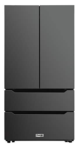 Thor Kitchen 36inch Wide Black Stainless Steel Refrigerator with Automatic Ice-maker, Counter Depth French Door