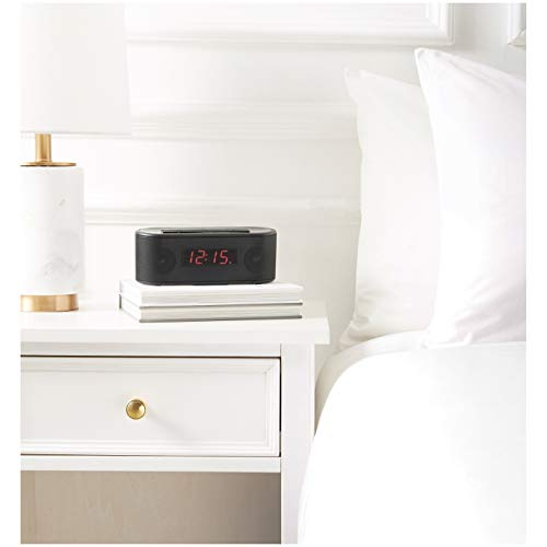AmazonBasics Alarm Clock with FM Radio, USB Charging Port and Bluetooth
