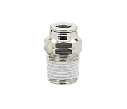 PneumaticPlus PN11-1/4-1/8 Push to Connect Metal Air Fitting, Male Straight - 1/4 Tube OD x 1/8 NPT Thread (Pack of 5)