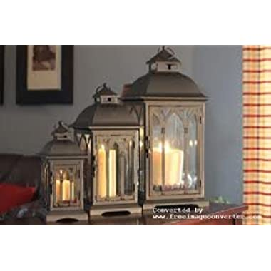 Set of 3 Indoor or Outdoor Metal and Glass Lanterns - Brown